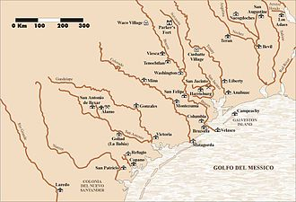 Spanish Texas - Missions in Spanish Texas at the beginning of the Spanish colonization in the area.