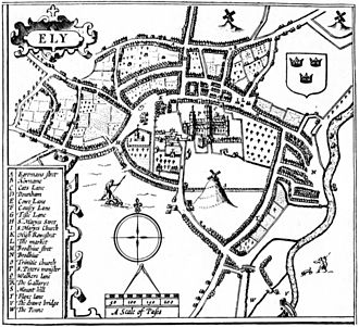 Ely, Cambridgeshire - Taken from Dorman 1986 p. 54 which originates from John Speed's plan of Ely on his 1610 Huntingdonshire map