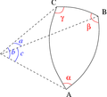 Spherical triangle with notations.png