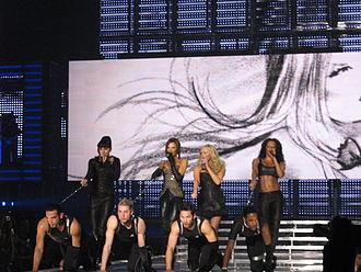 "Spice Girls - The Spice Girls as a four-piece performing ""Holler"" in Cologne, Germany at the Return of the Spice Girls tour."
