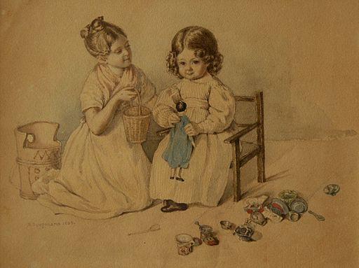 Spielende Kinder Aquarell von Rudolf Gaupmann