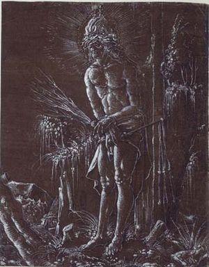 Hans Springinklee - Man of Sorrows, chiaroscuro drawing, c. 1514