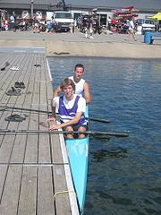 A typical racing K2 design, at the Canadian Masters Championships, 2005. Note the extremely narrow beam.