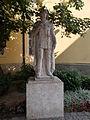 St. Emeric Church. Monument ID 3913 Oskola street side, front of the tower is a Statue of St. Emeric (limestone, Lux Elek work, 1991.; 1st installation date 1935). - Városház Sq., Downtown, Székesfehérvár.JPG
