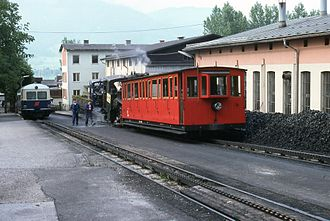 Schafberg Railway - A 5099 railcar (ÖBB) and a steam train at St. Wolfgang station