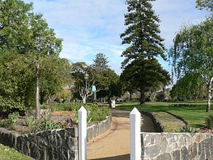 Charlie Moore (Australian rules footballer) - A view of the drinking fountain erected by public subscription as a memorial to Charles Moore at St Vincent Gardens, Albert Park (the fountain is in the centre of the photograph)