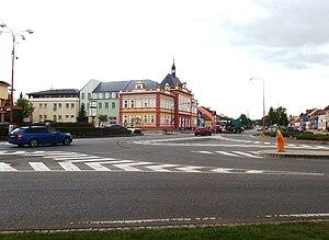 Staré Město (Uherské Hradiště District) - main crossroad and town hall