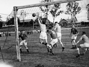 Bardon Latrobe FC - Soccer match at Lang Park Milton ca 1937 – teams not known, but likely to be Latrobe in the dark jerseys