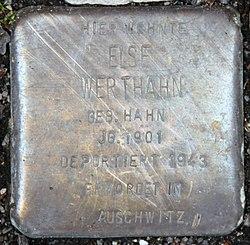 Photo of Else Werthahn brass plaque