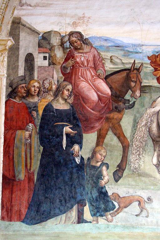Storie di San Benedetto, Come Benedetto lascia la casa paterna e recasi a studio a Roma (particolare)