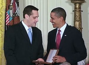Stuart Milk - Accepting the Presidential Medal of Freedom from President Barack Obama in August 2009 on behalf of his uncle