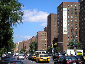 Stuyvesant Town as seen from First Avenue, looking uptown (north-northeast) (2006)