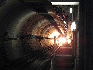 Subway train in tunnel