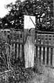 Sundial mounted on fence, San Juan Island, ca 1910s (WASTATE 2597).jpeg