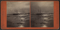 Sunset, vessel towing down Niagara River, by Pond, C. L. (Charles L.).png