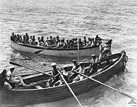 Survivors of HMT Southland after torpedo hit September 1915