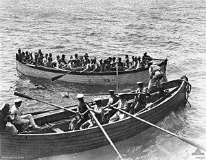 SS Vaderland (1900) - Survivors of HMT Southland after torpedo hit September 1915