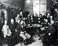 THEODOR HERZL (SEATED AT CENTER OF TABLE) WITH MEMBERS OF THE ZION ORGANIZATION IN THE LUBER CAFE IN VIENNA, 1896. תאודור הרצל עם חברי אגודת ציון בקפהD443-020.jpg