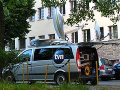 TVN24 van satellite Mercedes