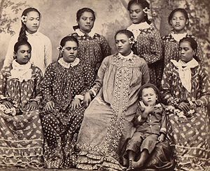"Mother Hubbard dress - Tahitian girls in their unadorned ""grandmother's dresses"" between 1880 and 1889."