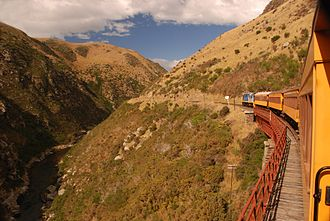 Dunedin Railways - Train travelling through the Taieri Gorge