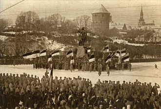 Estonian War of Independence - The first celebration of Estonian Independence Day in Tallinn on 24 February 1919