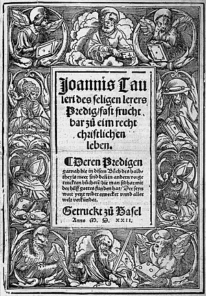 Johannes Tauler - 1522 title page of Tauler's sermons, by Holbein