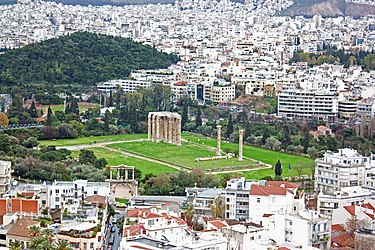 Temple of Zeus area from Athens Acropolis 2010 2.jpg