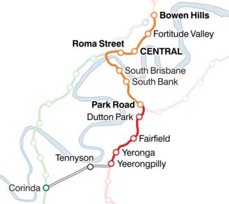 Ipswich and Rosewood railway line - Map of the Corinda via South Brisbane line.