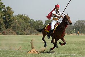 Tent pegging - A officer of the Indian Army tent pegging with the lance