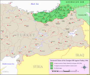 Turkish Straits crisis - Image: Territorial claims of the Georgian SSR against Turkey, 1946
