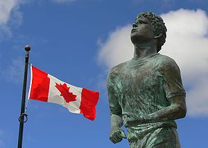The official Terry Fox memorial statue at Thun...
