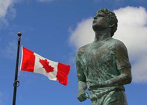 The official Terry Fox memorial statue at Thun...