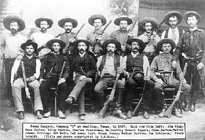 Battle of Tres Jacales - Company D, Texas Rangers, at Realitos in 1887. Captain Frank Jones is seated third from left.