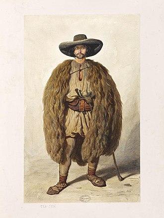 "Vlachs - Théodore Valerio, 1852: Pâtre valaque de Zabalcz (""Romanian sheperd from Zăbalț"")"
