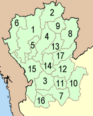 Northern Thailand - Provinces of the northern region in the four-region system