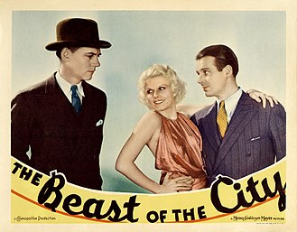 Wallace Ford - Lobby card for The Beast of the City (1932) featuring Walter Huston, Jean Harlow and Wallace Ford