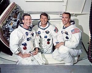 Donn F. Eisele - The Apollo 7 crew: Eisele (l.), Wally Schirra (c.), and Walter Cunningham (r.)