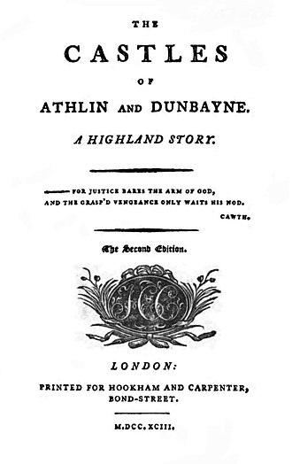 The Castles of Athlin and Dunbayne - Title page to the 1793 second edition