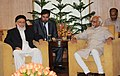 The Chairman, High Peace Council of the Islamic Republic of Afghanistan, Professor Burhanuddin Rabbani meeting the Vice President, Shri Mohd. Hamid Ansari, in New Delhi on July 14, 2011.jpg