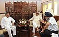 The Chief Minister of Haryana, Shri Bhupinder Singh Hooda in a meeting with the Union Minister for Road Transport & Highways, Dr. C.P. Joshi, in New Delhi on May 09, 2013.jpg