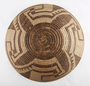 History of Arizona - This ornate grain basket by Akimel O'odham dates from the early 20th century, showing the Native American dimension to the state's culture.