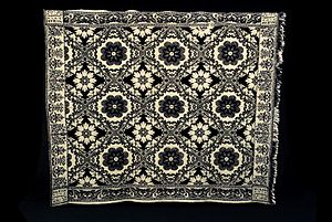 Woven coverlet - Jacquard coverlet, 1858, Children's Museum of Indianapolis.