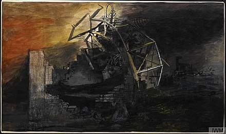 The City A fallen lift shaft by Graham Sutherland, 1941 The City A fallen lift shaft (1941) (Art.IWM ART LD 893).jpg