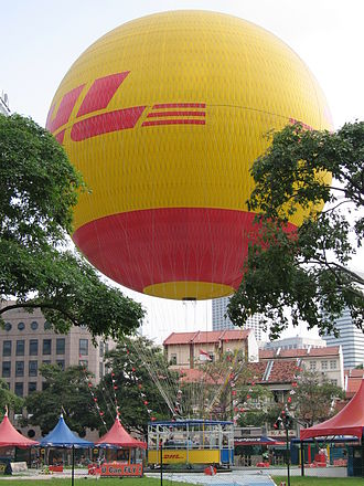 Tethered balloon - The DHL Balloon is the world's largest tethered helium balloon
