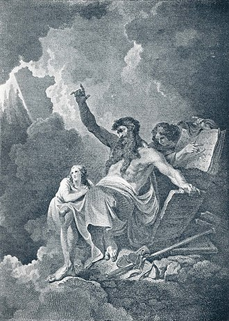 Ten Commandments - 1896 illustration depicting Moses receiving the commandments