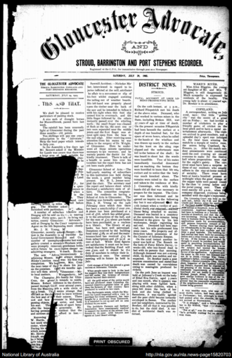 Gloucester Advocate - Front page of The Gloucester Advocate on 29 July 1905.
