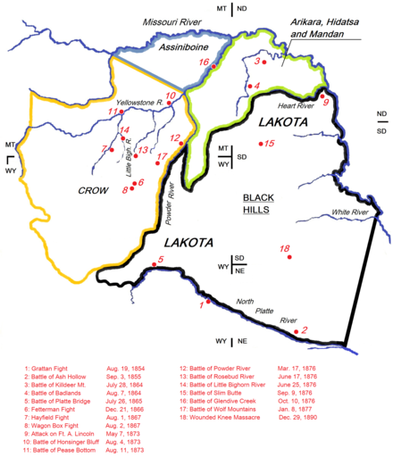 "Map indicating the battlefields of the Lakota wars (1851-1890) and the Lakota Indian territory as described in the Treaty of Fort Laramie (1851). Most battles ""between the army and the Dakota [Lakota] were on lands those Indians had taken from other tribes since 1851"", and the ongoing conflict between the United States and the buffalo seeking Lakotas in the 1860s and the 1870s was a ""clash of two expanding empires"". The steady Lakota invasion into treaty areas belonging to smaller tribes ensured the United States firm Indian allies in the Arikaras and the Crows during the Lakota Wars. The Lakota Wars (1854-1890). The battlefields and the Lakota treaty territory of 1851 (circa.).png"