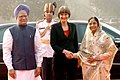 The President, Smt. Pratibha Devisingh Patil and the Prime Minister, Dr. Manmohan Singh at the ceremonial reception of President of the Swiss Confederation, Ms. Micheline Calmy-Rey, in New Delhi on November 07, 2007.jpg