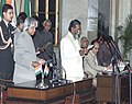 The President Dr.A.P.J.Abdul Kalam administering the Oath (Cabinet Minister) to Shri Shibu Soren, in New Delhi on January 29,2006.jpg